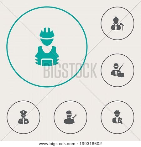 Collection Of Planner, Officer, Leaner And Other Elements.  Set Of 6 Position Icons Set.