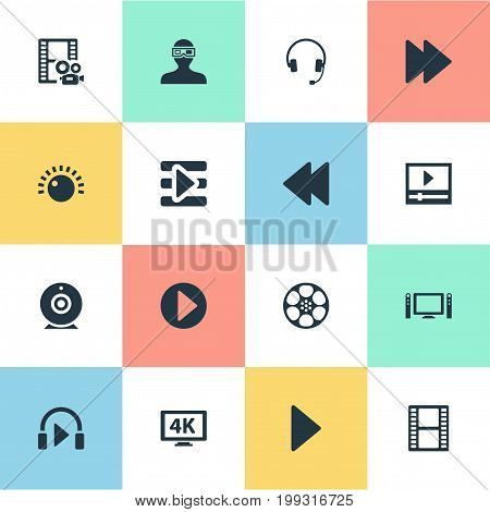Elements Playlist, Web Cam, Begin And Other Synonyms Entertainment, Cinema And 4K.  Vector Illustration Set Of Simple Multimedia Icons.