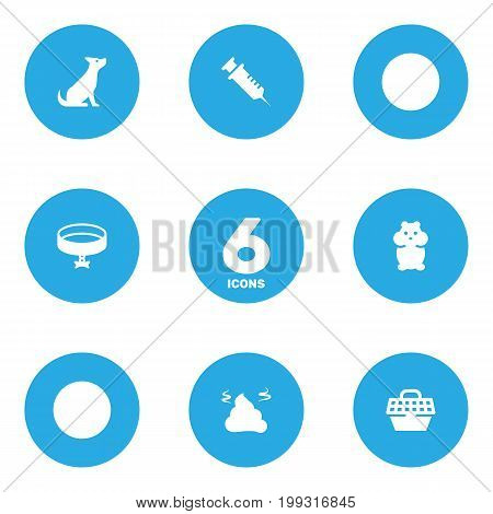 Collection Of Pile , Dog , Neckband Elements.  Set Of 6 Animals Icons Set.