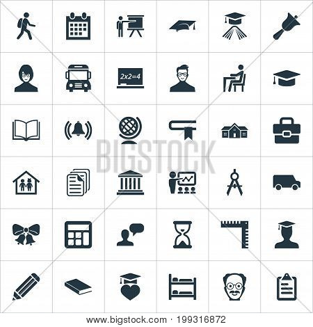 Elements Tutor, Geometry, Devider And Other Synonyms Undergraduate, Training And University.  Vector Illustration Set Of Simple School Icons.