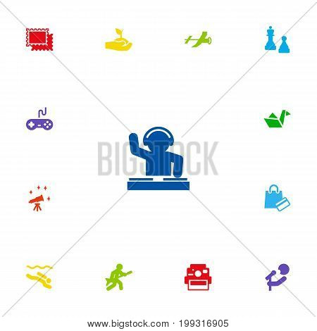 Collection Of Photo Camera, Paper Figure, Collecting And Other Elements.  Set Of 13 Hobbie Icons Set.