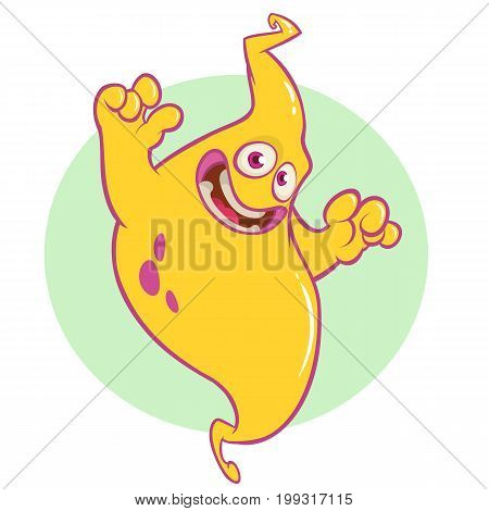 Funny cartoon genie character smiling. Vector illustration of scary ghost