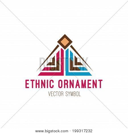 Native tribal logo. Colorful geometric design, aztec and indian culture ornament. Flat style vector icon isolated on white background. geometric art