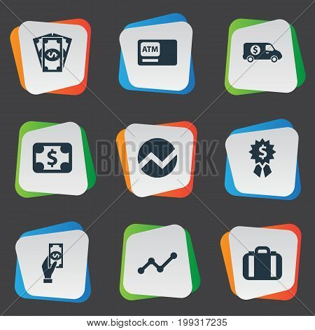 Elements Banknote, Statistic, Portfolio And Other Synonyms Bill, Analytics And Diagram.  Vector Illustration Set Of Simple Bill Icons.