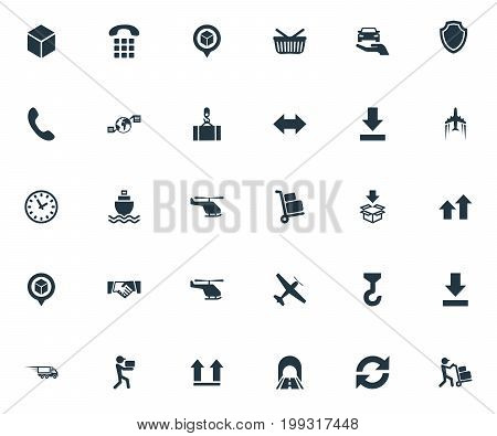 Elements Employee, Interval, Global Trade And Other Synonyms Hoisting, Up And Refresh.  Vector Illustration Set Of Simple Systematization Icons.