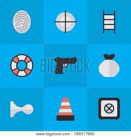 Elements Lifesaver, Hunting, Isolated And Other Synonyms Protected, Deer And Target.  Vector Illustration Set Of Simple Offense Icons.