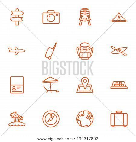 Collection Of Boat, Airplane, Front View Tram And Other Elements.  Set Of 16 Journey Outline Icons Set.