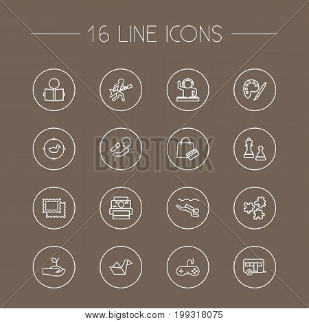 Collection Of Chess, Guitar, Stamps And Other Elements.  Set Of 16 Lifestyle Outline Icons Set.