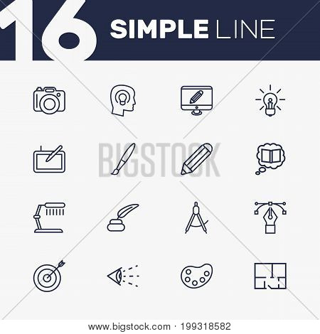 Collection Of Pencil, Bezier Curve, Inkwell With Pen And Other Elements.  Set Of 16 Constructive Outline Icons Set.