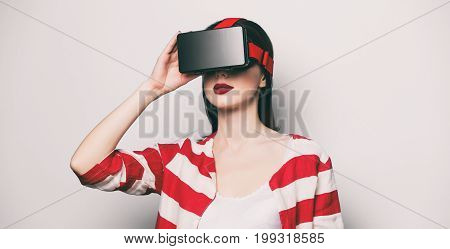 Woman With Virtual Reality Gadget