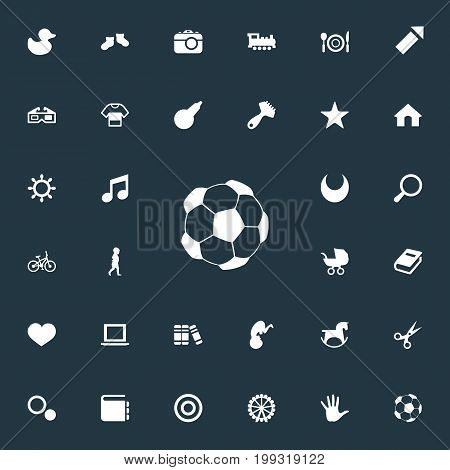 Elements Sparkler, Hairbrush, Fetus And Other Synonyms Movie, Bookshop And Feeding.  Vector Illustration Set Of Simple Baby Icons.
