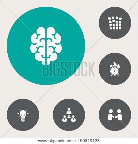 Collection Of Intelligence, Startup Building, Time In Fire And Other Elements.  Set Of 6 Startup Icons Set.