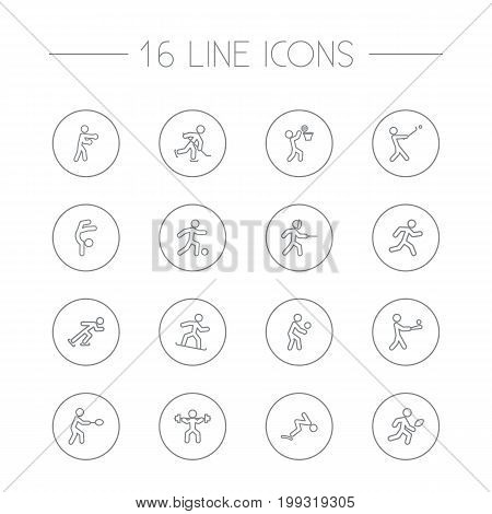 Collection Of Swimming, Box, Swordplay And Other Elements.  Set Of 16 Fitness Outline Icons Set.