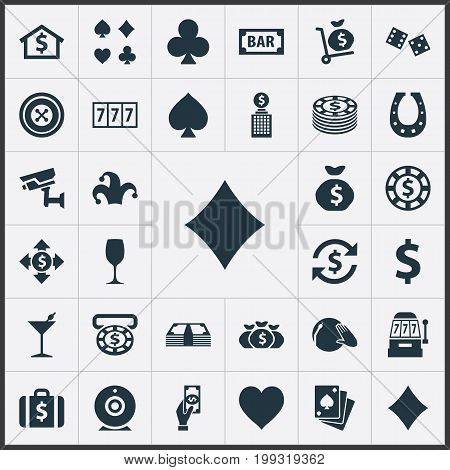 Elements Poker, Jester, Pay And Other Synonyms Buffoon, Cube And Clubs.  Vector Illustration Set Of Simple  Icons.