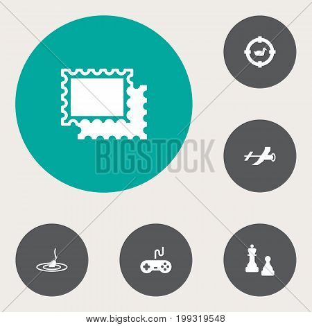 Collection Of Flying, Checkmate, Collecting And Other Elements.  Set Of 6 Hobbie Icons Set.