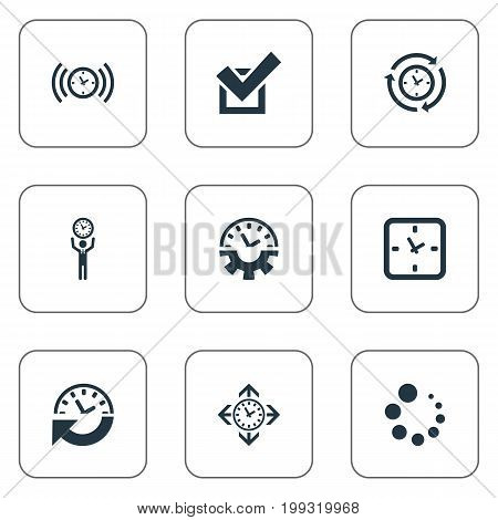 Elements Loading, Direction, Recurrence And Other Synonyms Period, Compatibility And Grade.  Vector Illustration Set Of Simple Time Icons.