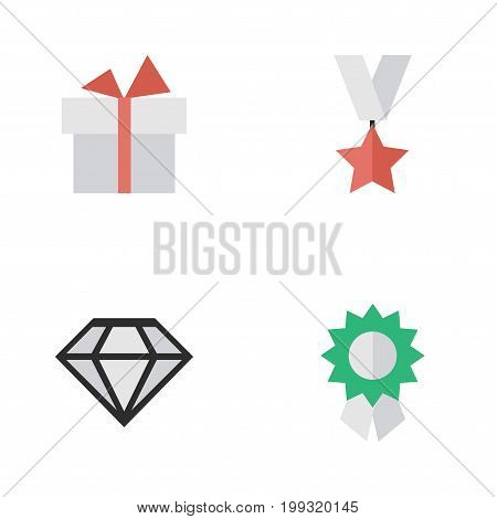 Elements Reward, Present, Trophy And Other Synonyms Reward, Brilliant And Precious.  Vector Illustration Set Of Simple Champion Icons.