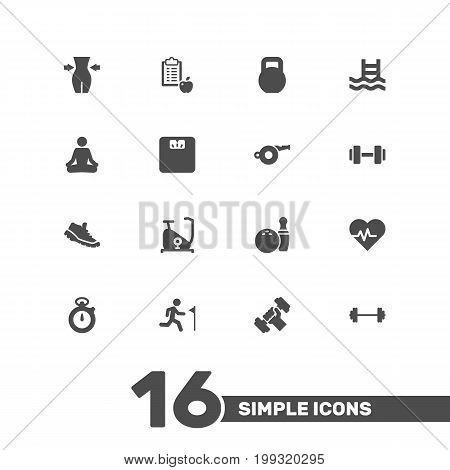 Collection Of Running, Kegling, Body Balance And Other Elements.  Set Of 16 Fitness Icons Set.
