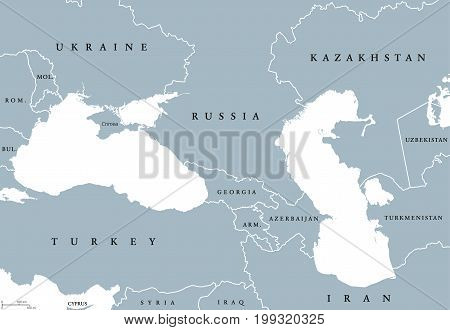 Black Sea and Caspian Sea region political map with countries, borders and English labeling. Bodies of water between Eastern Europe and Western Asia. Gray illustration. Vector.