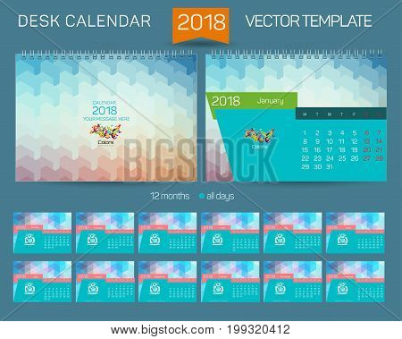 Desk Calendar 2016 Vector Design Template with abstract pattern. Set of 12 Months. vector illustration