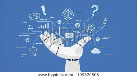 Chat bot robot hand with icons. Artificial intelligence concept online.