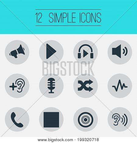 Elements Headphone, Up, Telephone And Other Synonyms Music, Recorder And Listen.  Vector Illustration Set Of Simple Music Icons.