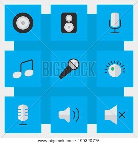 Elements Volume, Record, Loudness And Other Synonyms Speaker, Make And Music.  Vector Illustration Set Of Simple Sound Icons.