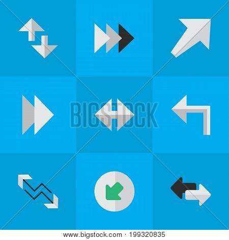 Elements Northwestward, Orientation, Southwestward And Other Synonyms Southwest, Left And Northwest.  Vector Illustration Set Of Simple Arrows Icons.