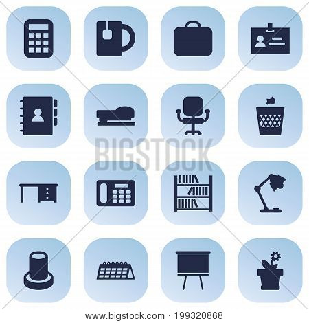 Collection Of Date, Illuminator, Desktop And Other Elements.  Set Of 16 Workspace Icons Set.