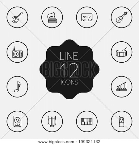 Collection Of Loudspeaker, Station, Guitar And Other Elements.  Set Of 12 Song Outline Icons Set.