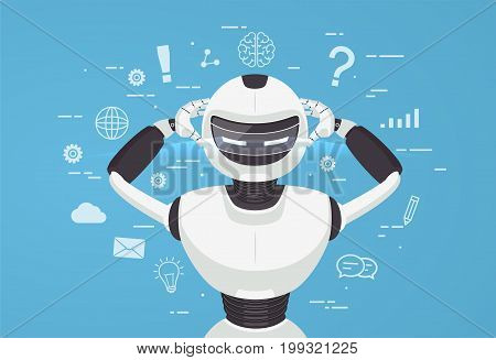 Chat bot robot virtual assistance. Artificial intelligence concept online.