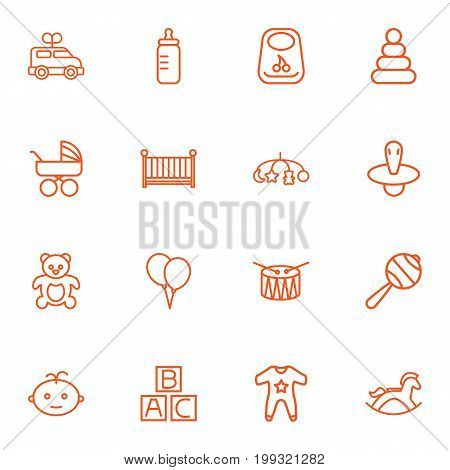 Collection Of Teddy, Drum, Nipple And Other Elements.  Set Of 16 Baby Outline Icons Set.