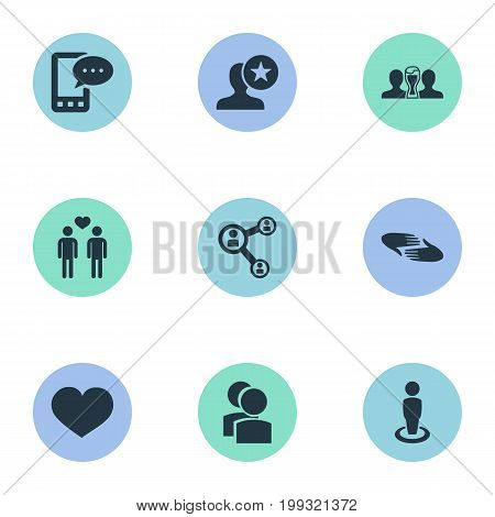 Elements Lover, Heart, Singleness And Other Synonyms Favorite, Camaraderie And Communication.  Vector Illustration Set Of Simple Buddies Icons.