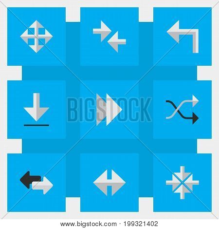 Elements Loading, Inside, Chaotically And Other Synonyms Enlarge, Import And Forward.  Vector Illustration Set Of Simple Cursor Icons.