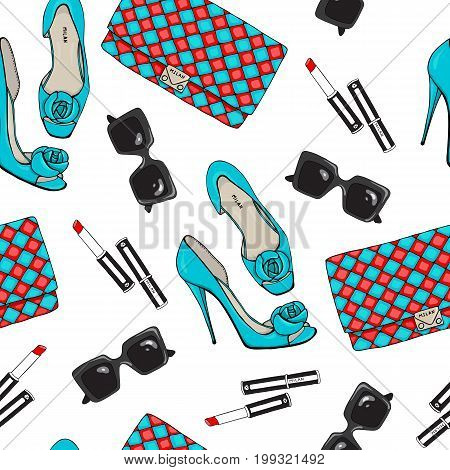 Pattern of fashion female items, accessories. Seamless