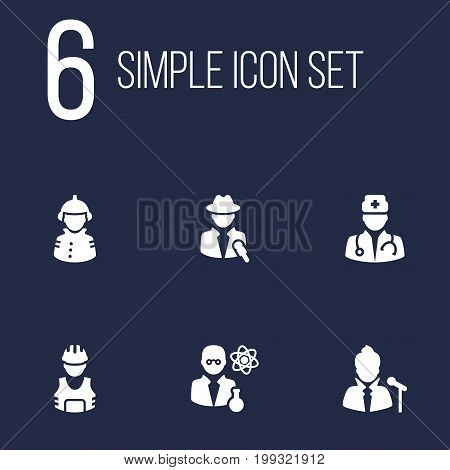 Collection Of Vocalist, Journalist, Working And Other Elements.  Set Of 6 Job Icons Set.