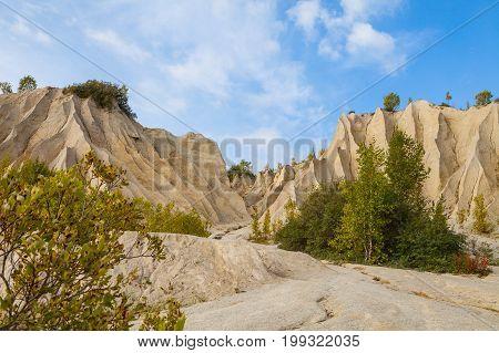 Sand hills of abandoned quarry. Autumn scene, Estonia