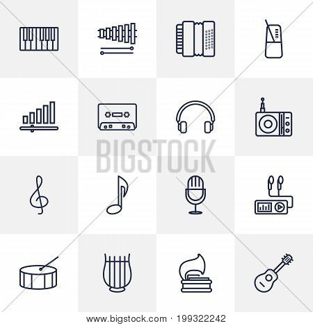 Collection Of Station, Fortepiano, Headphones And Other Elements.  Set Of 16 Melody Outline Icons Set.