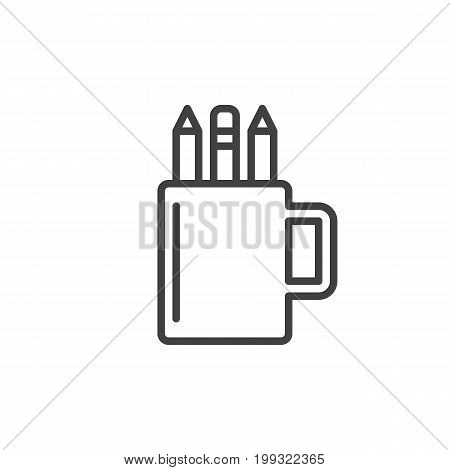 Pencil cup holder line icon, outline vector sign, linear style pictogram isolated on white. Symbol, logo illustration. Editable stroke. Pixel perfect vector graphics