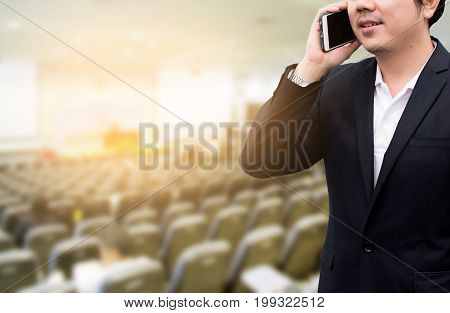 Blurred background business Meeting Conference Training Learning Coaching Concept.