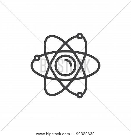 Atom line icon, outline vector sign, linear style pictogram isolated on white. Nuclear symbol, logo illustration. Editable stroke. Pixel perfect vector graphics