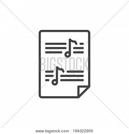 Sheet music line icon, outline vector sign, linear style pictogram isolated on white. Symbol, logo illustration. Editable stroke. Pixel perfect vector graphics
