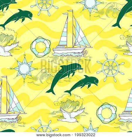 Nautical seamless pattern with ships and wheel, seahorse, sailing boats and  dolphins. Hand drawn elements for summer holidays.Travel, sea and ocean. Vector Illustration
