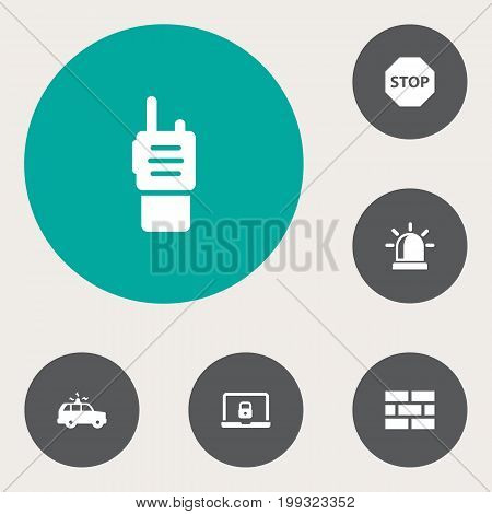 Collection Of Notebook, Sign, Alarm And Other Elements.  Set Of 6 Procuring Icons Set.