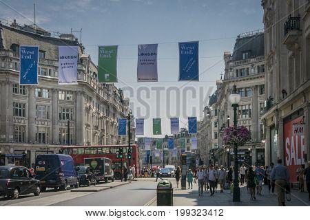 LONDON, 20 JUNE 2017 - Street view of Oxford Circus London UK