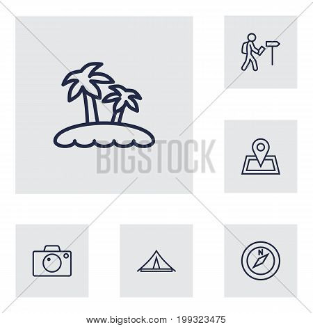 Collection Of Foreigner, Photo, Palm And Other Elements.  Set Of 6 Relax Outline Icons Set.