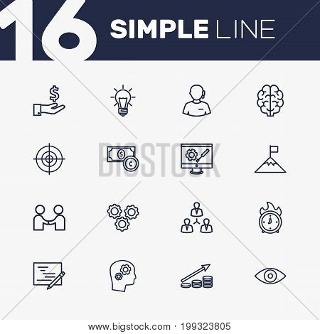 Collection Of Idea, Development, Success And Other Elements.  Set Of 16 Business Outline Icons Set.