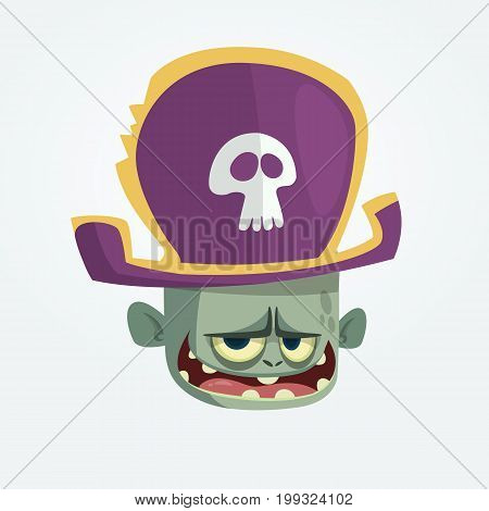 Vector illustration of Cartoon Pirate zombie head. Halloween zombie mascot in pirate bicorne hat with skull emblem. Isolated icon