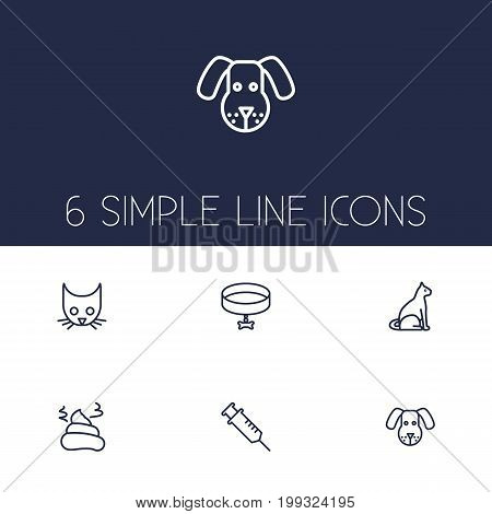 Collection Of Cat, Vaccination, Dog And Other Elements.  Set Of 6 Mammal Outline Icons Set.