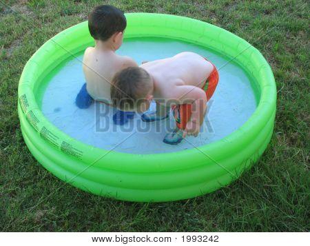 Backyard Fun Brothers In Wading Pool